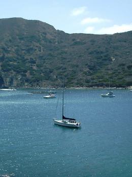 Seventh Heaven anchored in Cat Harbor, Catalina Island, California