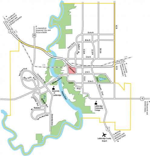 Map of Lethbridge
