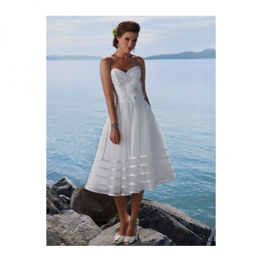 Mid calf length wedding gown for informal wedding