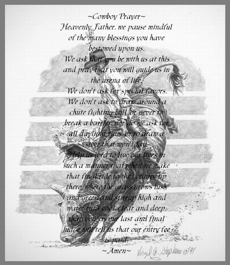 A prayer said by some cowboys before they ride.