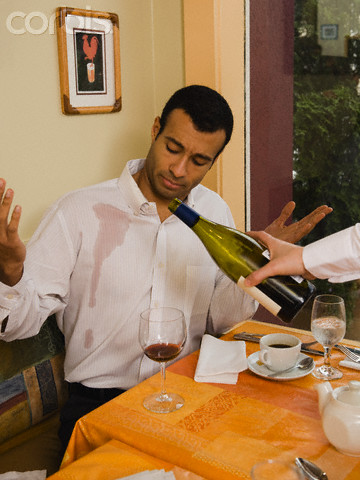 Waiters spilling wine on customers can only mean you are in an unclean restaurant.