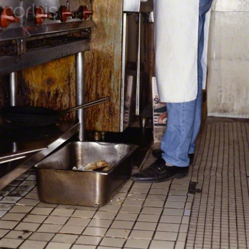 A dirty restaurant's kitchen area always has water sitting in pans, cans, and in the floor.