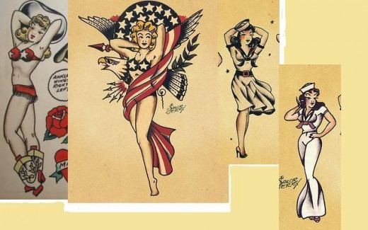 traditional sailor tattoos. Classic pin-ups by Sailor