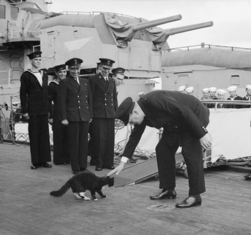 Atlantic Conference 1941: Churchill & 'Blackie' the cat, mascot of HMS Prince of Wales
