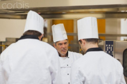 A serious meeting between restaurant chefs.