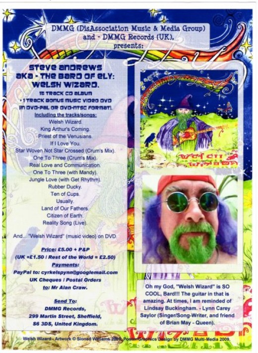Welsh Wizard flyer for an album by the Bard of Ely