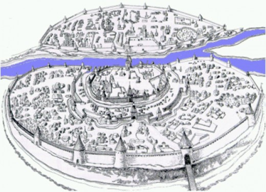 Holmgard divided by the River Volkhov - the prince's stronghold is across the river from the merchants' quarter