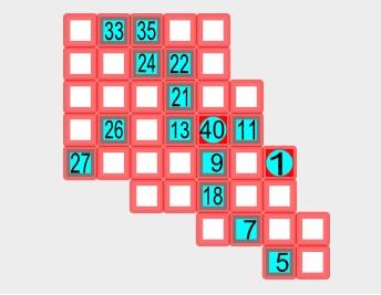 A sample Hidato puzzle