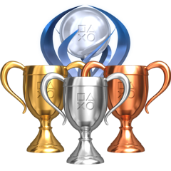 Bronze, silver, gold, and platinum trophies