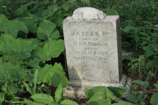 Headstone of Jasper Dunham, Valley View Cemetery