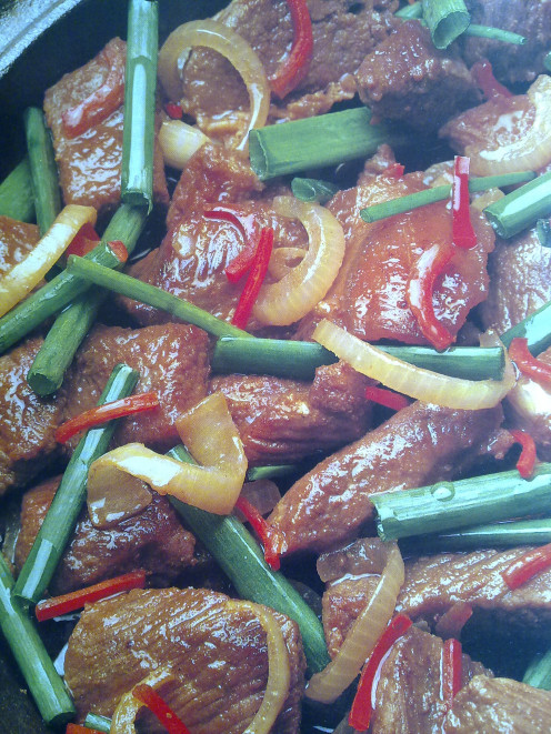 Stir fry Onions with Beef and Spring Onions
