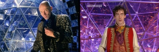 Richard O'Brien (left) hosted the Crystal Maze for Series 1-4 while Edward Tudor-Pole (right) replaced him as host for Series 5-6
