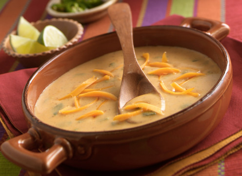 Chili Cheese Soup - Curl some cuts of cheddar or Monterey jack on top.