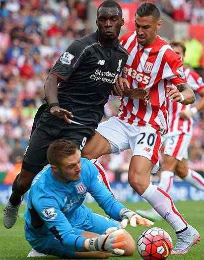 Christian Benteke in action against a very solid Stoke defense