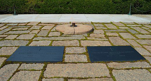 """The """"Eternal Flame"""" watches over the graves of John F. Kennedy and his wife, Jacqueline Kennedy Onasis. © Scott Bateman"""