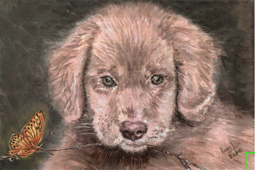 Commissioned painting by the author. Dogs can have some very unlikely friends