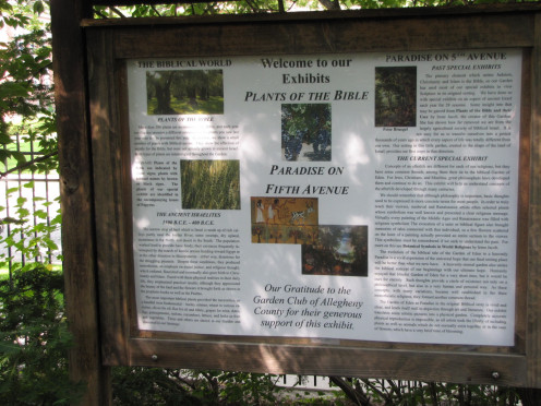 Sign Describing Plants In Garden