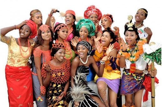 Nigerian Women displaying vast Nigeria cultural attires