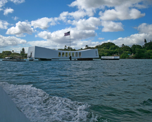 A view of the Arizona Memorial in Hawaii as the ferry approaches for the tour.