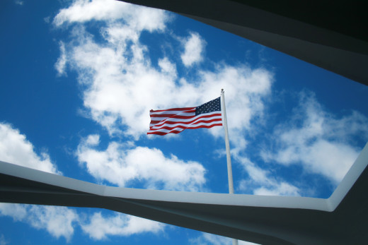 The pride of our flag at the Arizona Memorial a continued lasting remembrance.