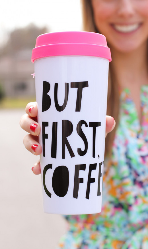 """But First, Coffee"" travel mug"