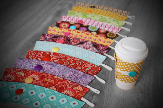 Fabric coffee cozies