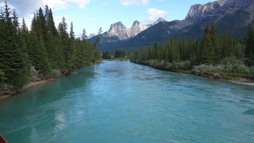View of the Bow River from the Trestle Bridge, Canmore, Alberta, Canada