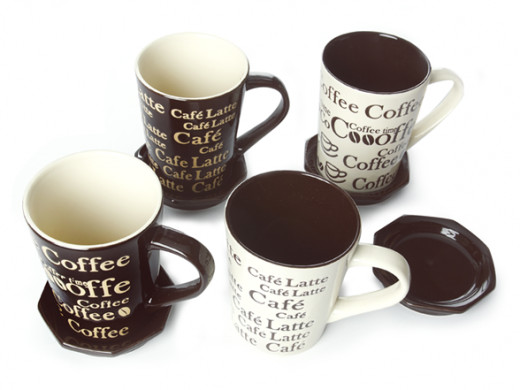 Coffee mugs and saucers