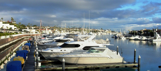The Bayside Marina and Balboa Island, Newport Beach, California...