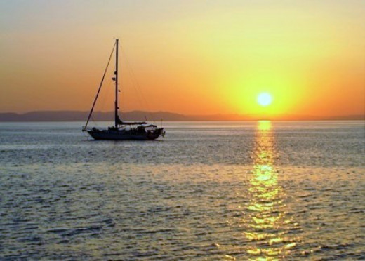 Anchored in the setting sun on the Sea of Cortez