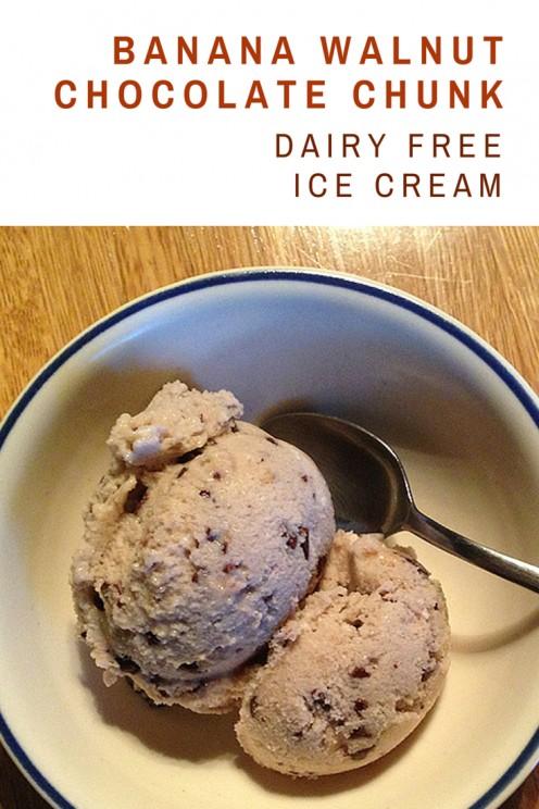 Vegan Coconut Milk Ice Cream: Banana Walnut Chocolate Chunk