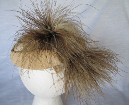A vintage hat with feather decorations