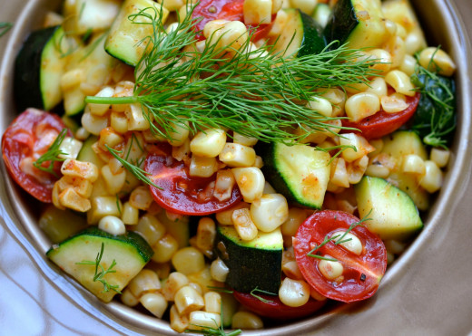 Tomatoes make a delightful addition to a basic succotash