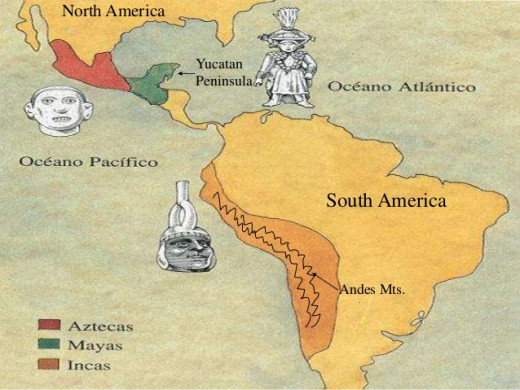 Ethno-geography of Mayans, Incas, and Aztecs in Mesoamerica