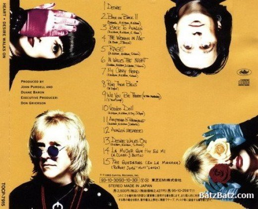 """Back cover for Heart's 11th studio album, """"Desire Walks On."""" (My copy did not include tracks 14 & 15 -- the two Spanish translations.)"""