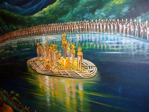 Depiction of  purification in the lake by Muisca people