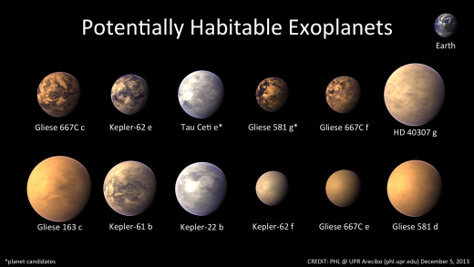 Depictions of potentially habitable worlds.