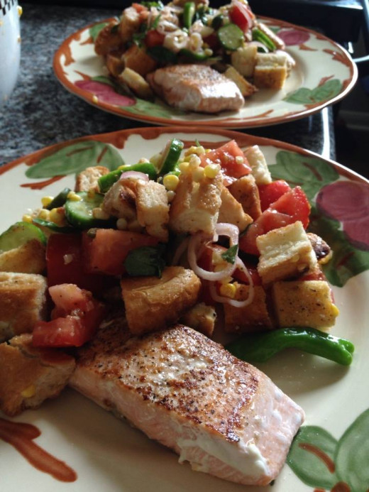 Seared Salmon & Panzanella with corn, shishito peppers, & Thai basil