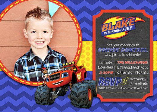 Personalized Blaze and the monster machines party invitations.