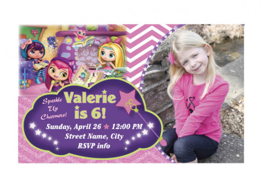 Adorable personalized Little Charmers birthday party invitations.