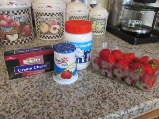 Ingredients for fruit dip.