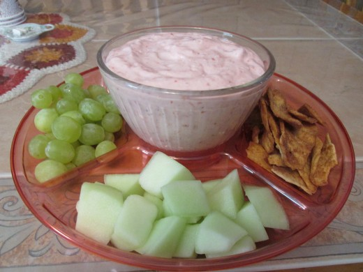 Fruit dip ready to eat.