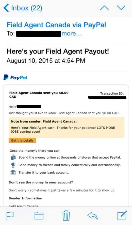 Field Agent Proof of Payment
