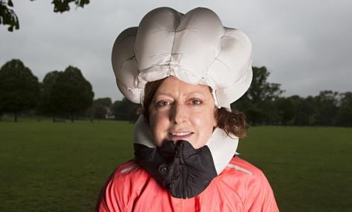 Judith Soal wears the inflated bike airbag Photograph: Richard Saker for the Observer