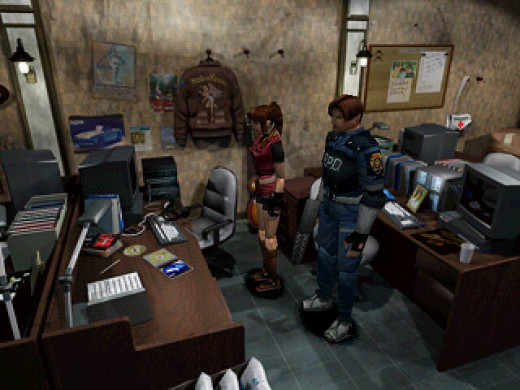 Claire and Leon in the police station in Resident Evil 2