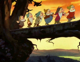 Dwarfs singing 'Heigh Ho ...""