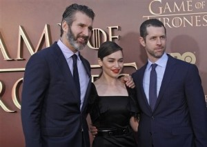 David Benioff and D. B. Weiss with Game of Thrones star Emilia Clarke