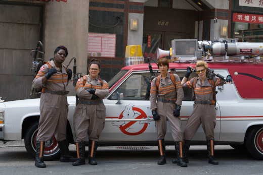 The Ghostbusters cast: Leslie Jones, Melissa McCarthy, Kristen Wiig, and Kate McKinnon