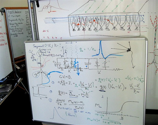Whiteboard with complicated stuff on it