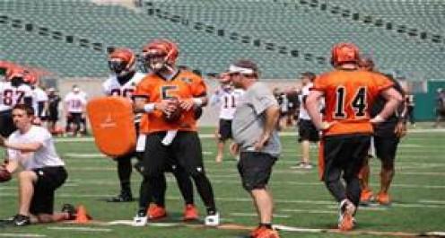 Andy Dalton and AJ McCaron running QB drills.